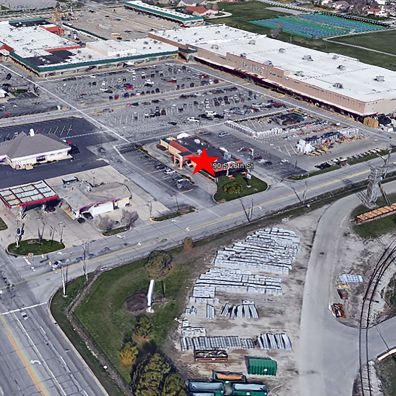 Lafayette Taco Bell Aerial Location