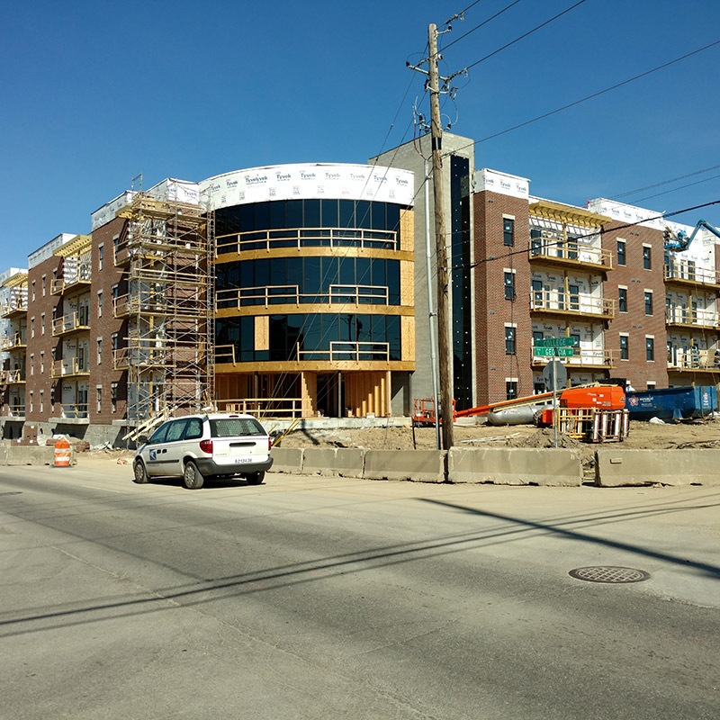 The Vue construction progression SE corner